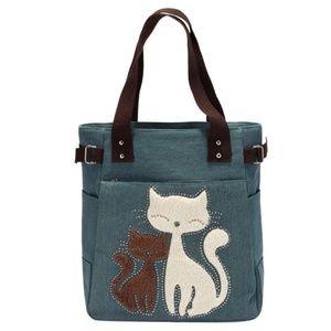 Handbags - Large Capacity Canvas Cat Tote 😻